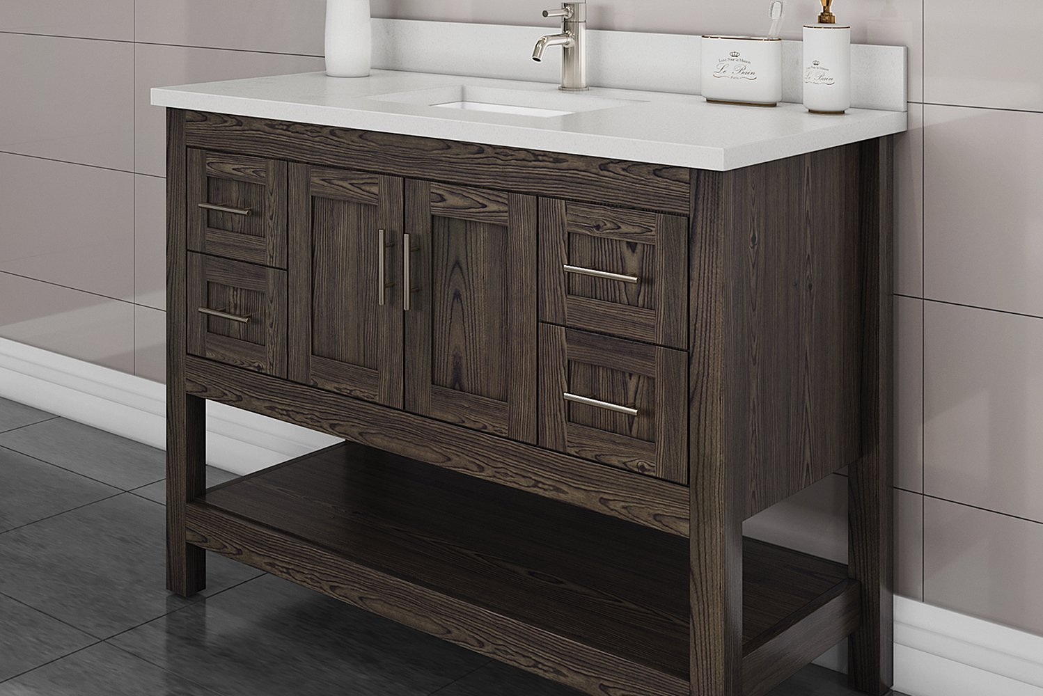 Strasser Woodenworks introduced Dusky Oak, a rustic new finish for their handcrafted solid wood bathroom vanities.
