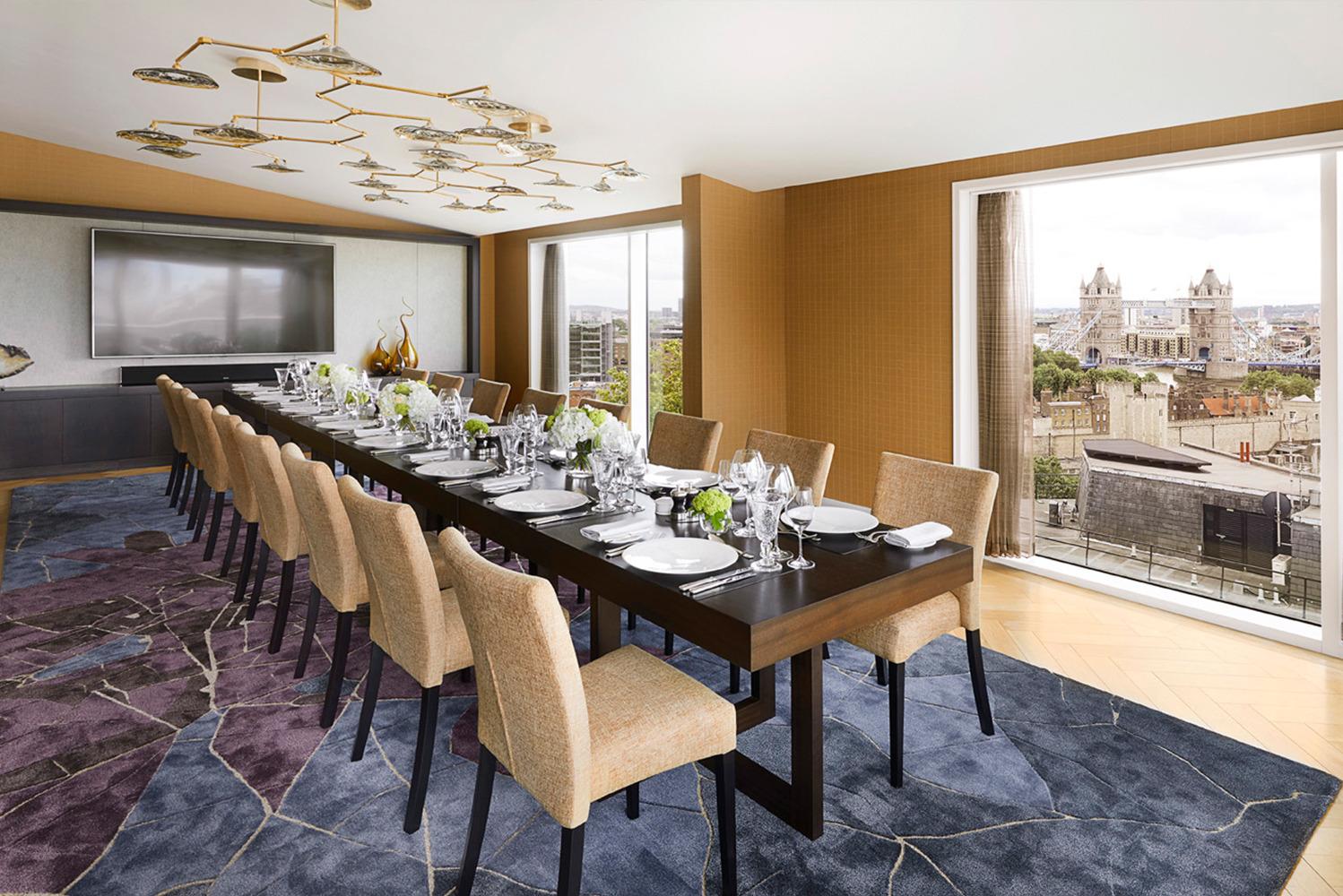 The 6,000 square foot residential-style Thames Penthouse has floor-to-ceiling windows and uninterrupted views of the Tower of London and Tower Bridge.
