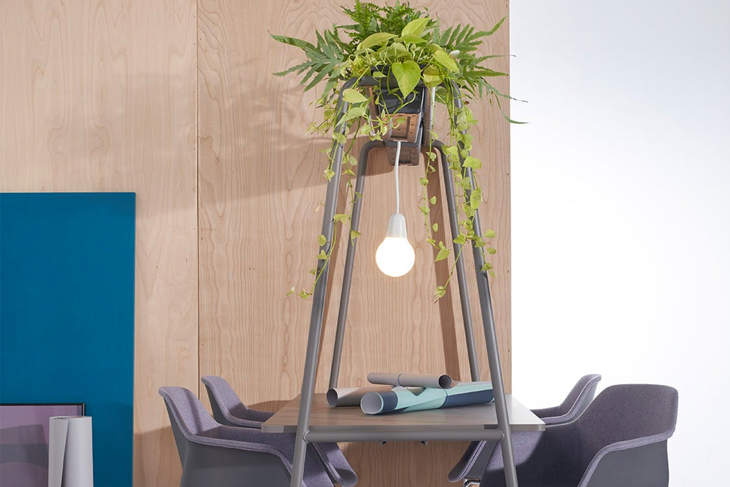 Accessories include planter boxes, chair suspension (for easier cleaning underneath), and built-in castors for easy movement around the room.