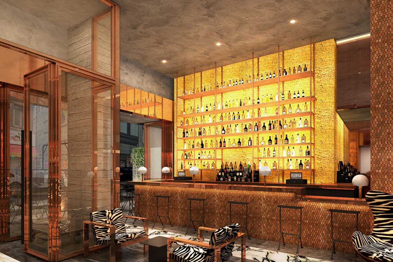 Inside, guests are greeted by the front desk on their right and the restaurant's bar on the left, a layout that intends to create a synergy between the bar and the reception desk.