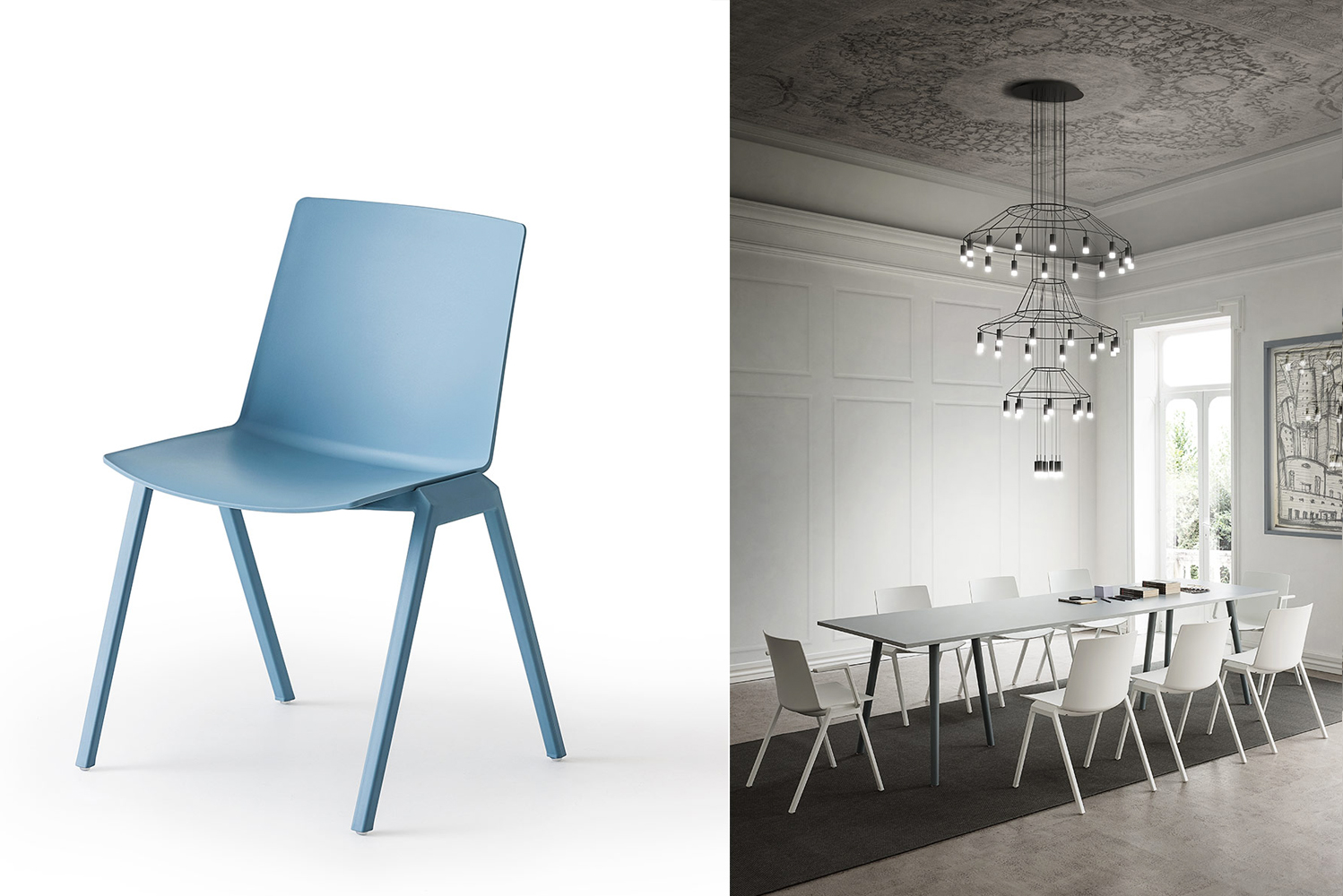 It is also stackable up to eight chairs high. It is inwhite, black, gray, lobster, sand and blue.