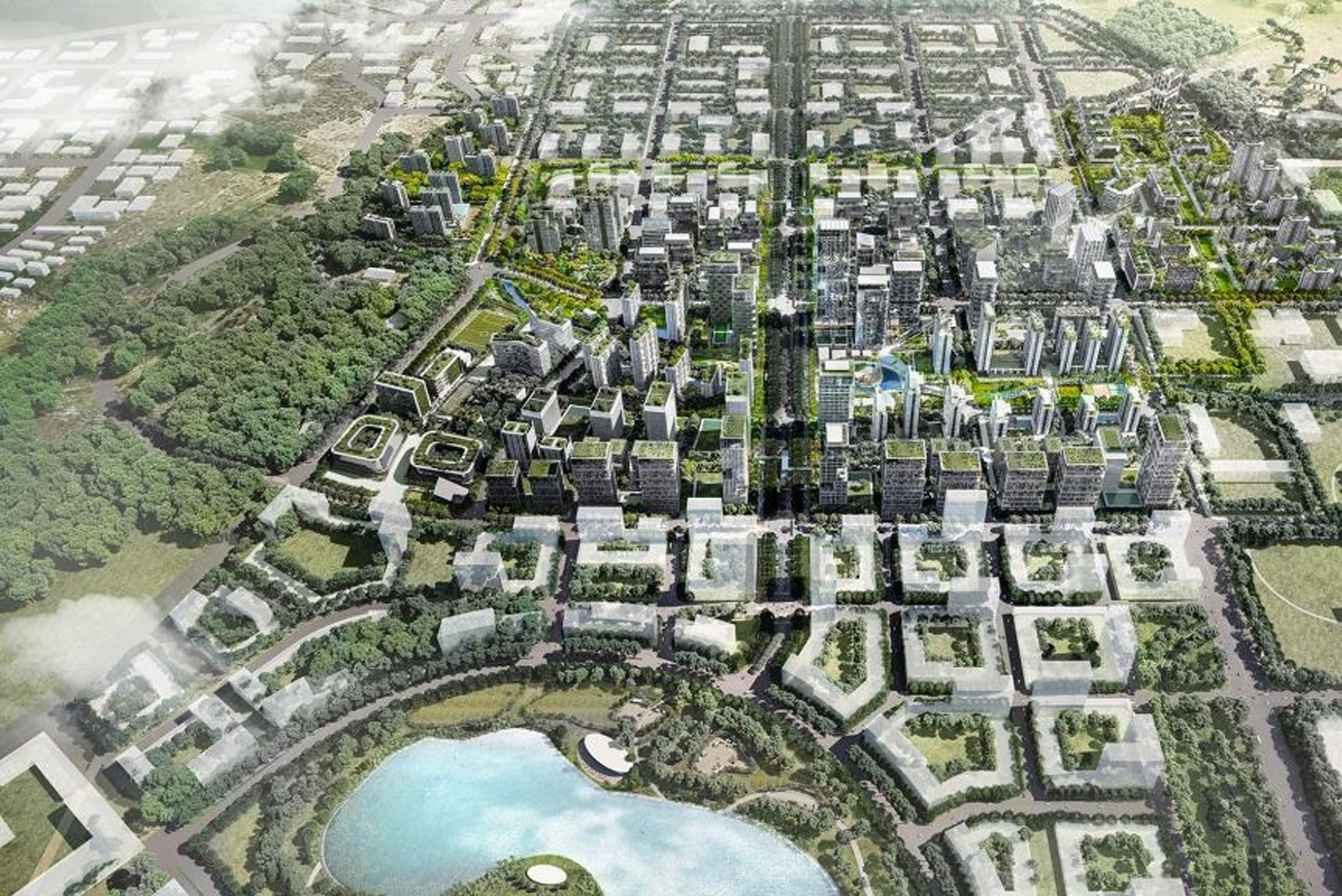 The project followed a compact city model with the creation of a series of connected neighborhoods.
