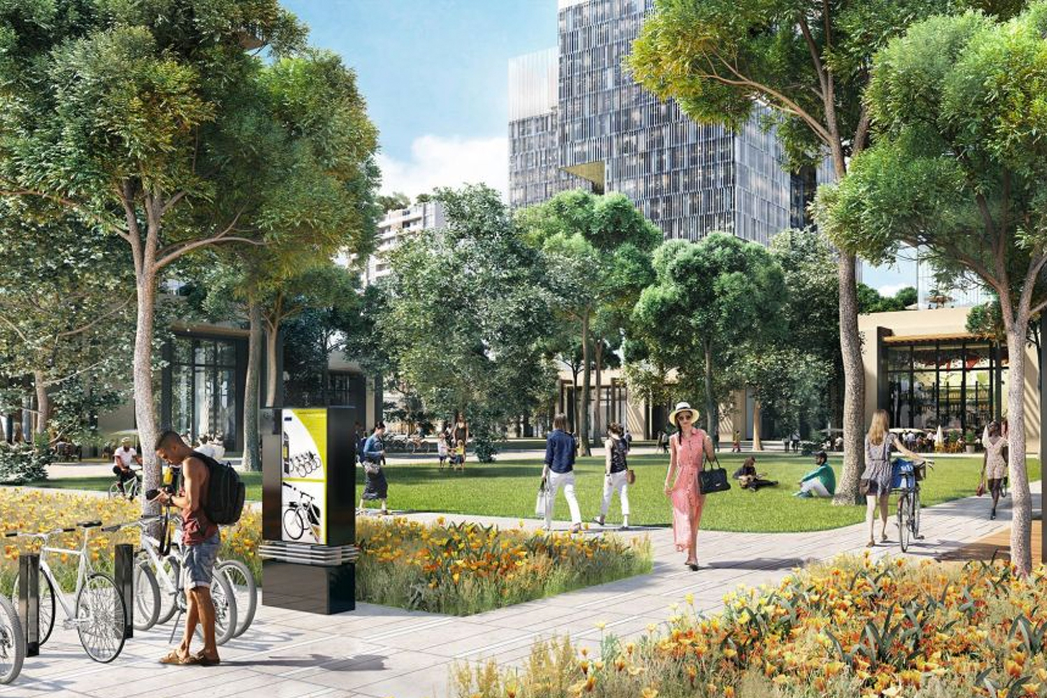 Design-wise, the district will promote a move away from non-motorized forms of transport. This will be facilitated by shaded streets designed for pedestrians and cyclists.