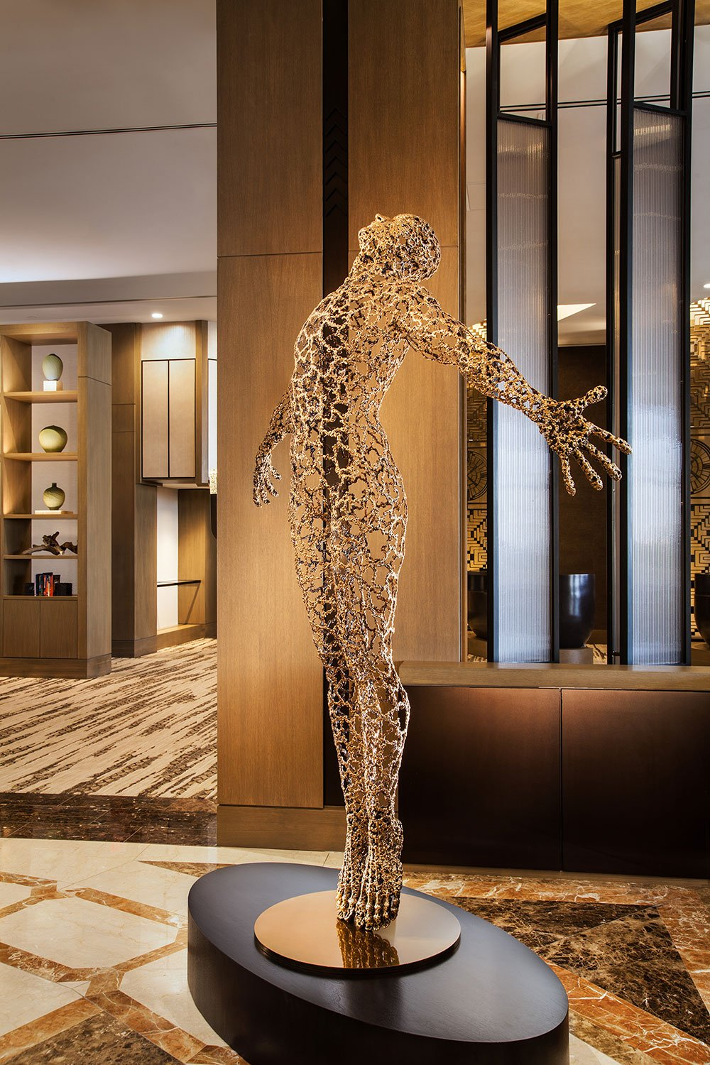 The Solaris statue greets guests as they enter the lobby.