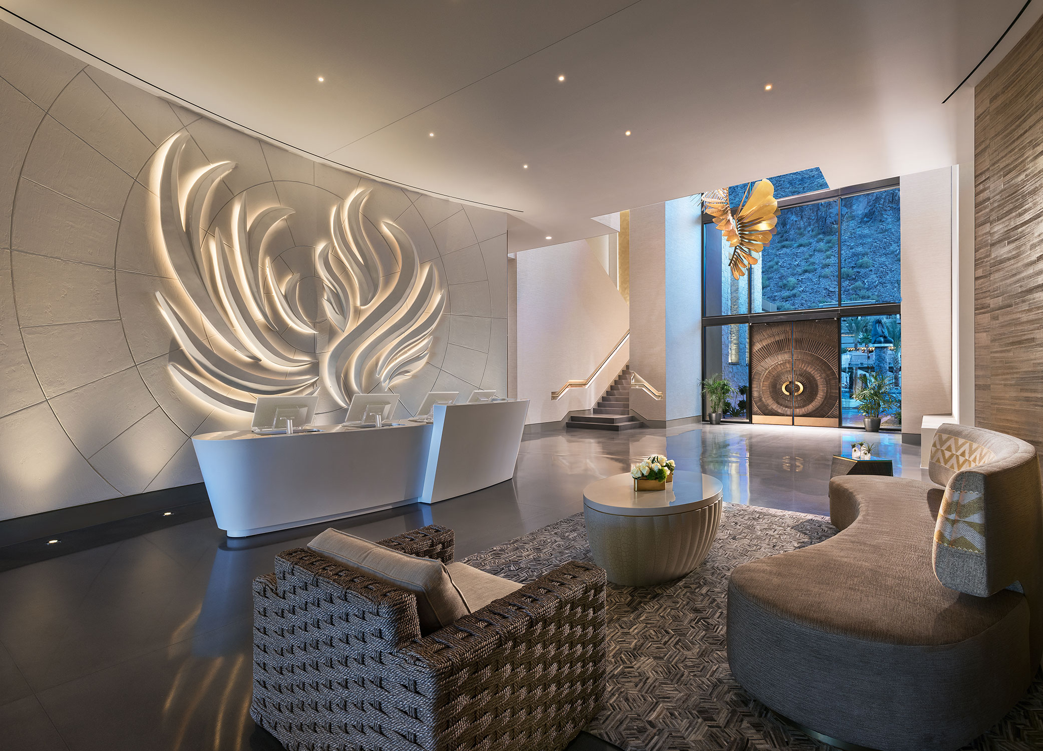 The brand-new spa has phoenix-inspired artwork throughout.