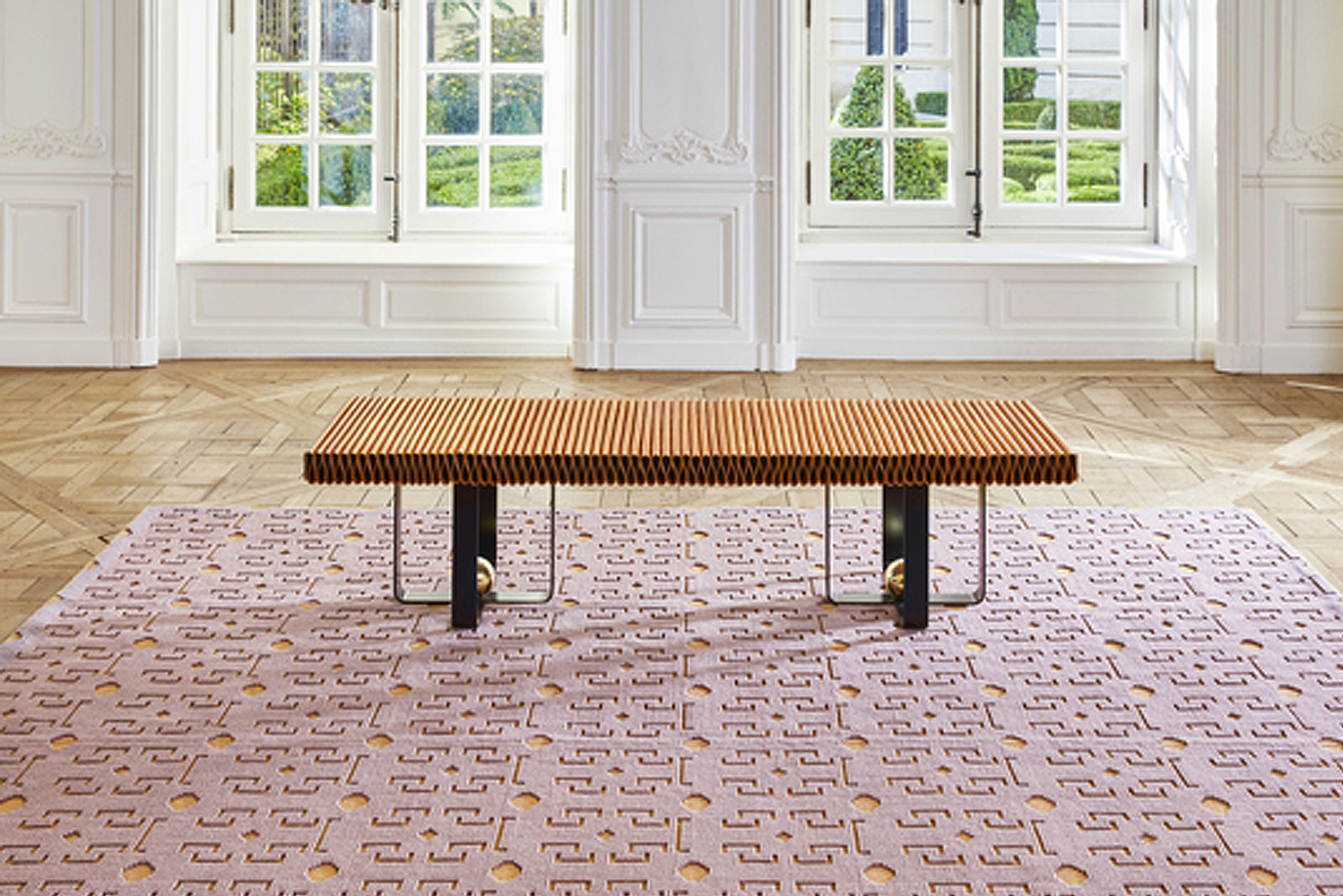 These rugs are made to order in wool, cotton and jute, and are hand woven in narrow panels on 19th Century Jacquard looms before the panels are sewn together by hand.