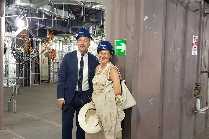 Adam Sachs and Barbara Muckermann show journalists the S.A.L.T. spaces onboard Silver Moon.
