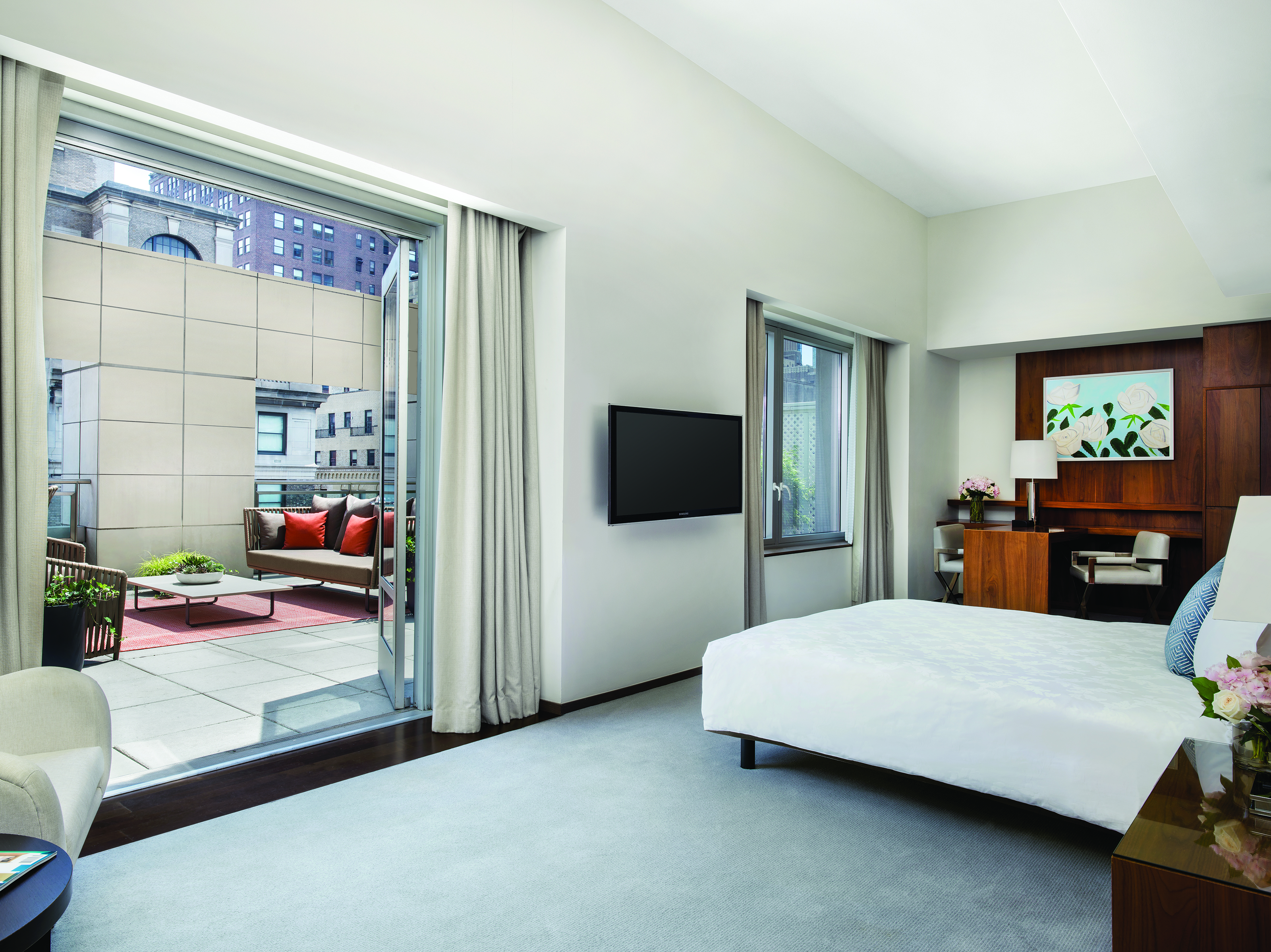 The terraces are sold as an upgrade to each of the rooms to which they are affixed.