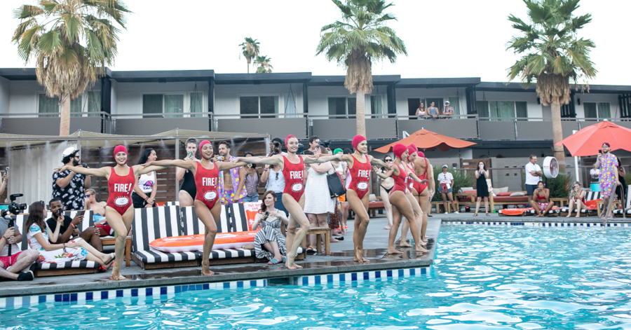 The resort hosts a performance by synchronized swimming/dance company Aqualillies.