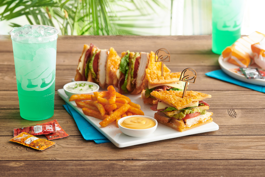 The resort offers exclusive dishes, including a toasted cheddar club.