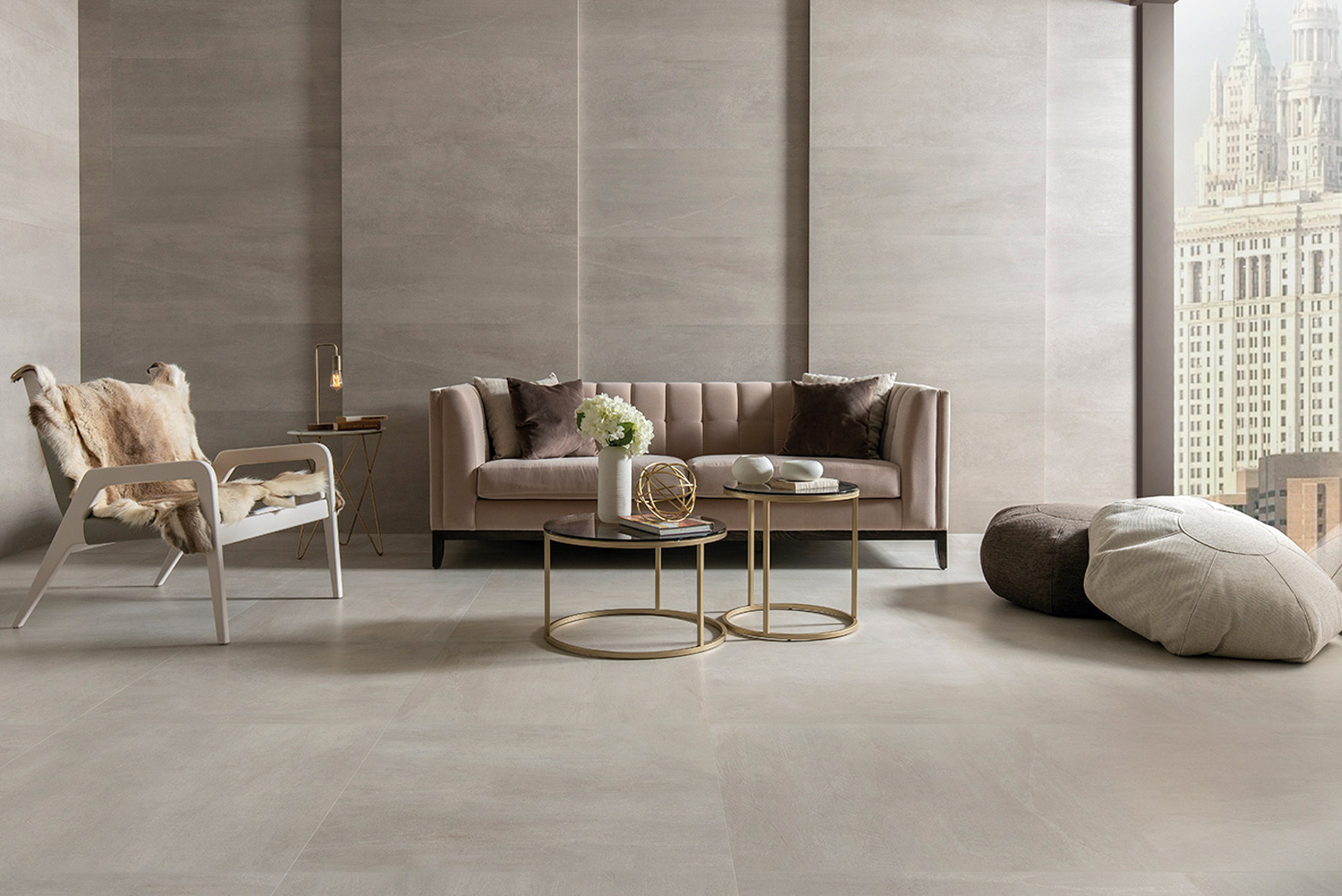 Introducing the Urban collection by Porcelanosa, a line of floor and wall tiles featuring stone-origin veining.