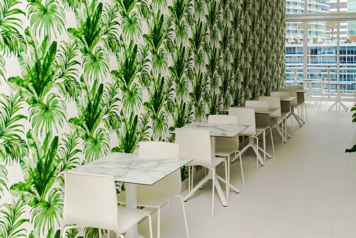 Marthica Galvis, director of marketing for W Miami who spearheaded the endeavor, sought to build a space that was bright and welcoming with an emphasis on natural greenery.