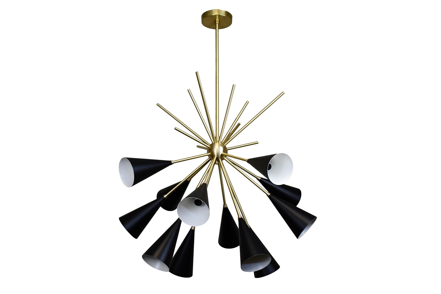 Blending French and Italian modernism with a bit of Hollywood glamour, the Grand Bouquet is a large lighting fixture that generates a glow through 12 enamel-coated cones.