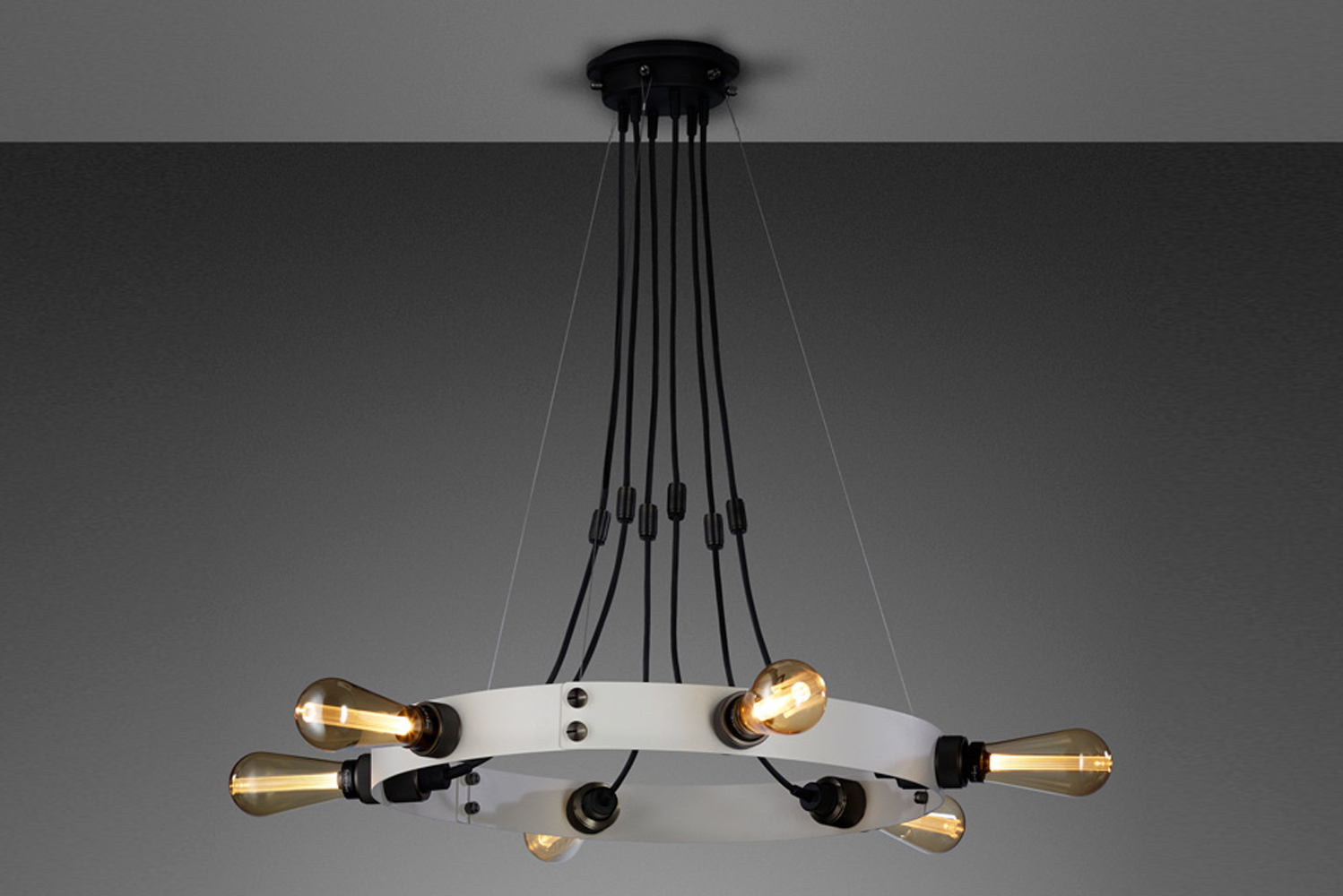 Introducing Hero, a 21st-century industrial-style chandelier.