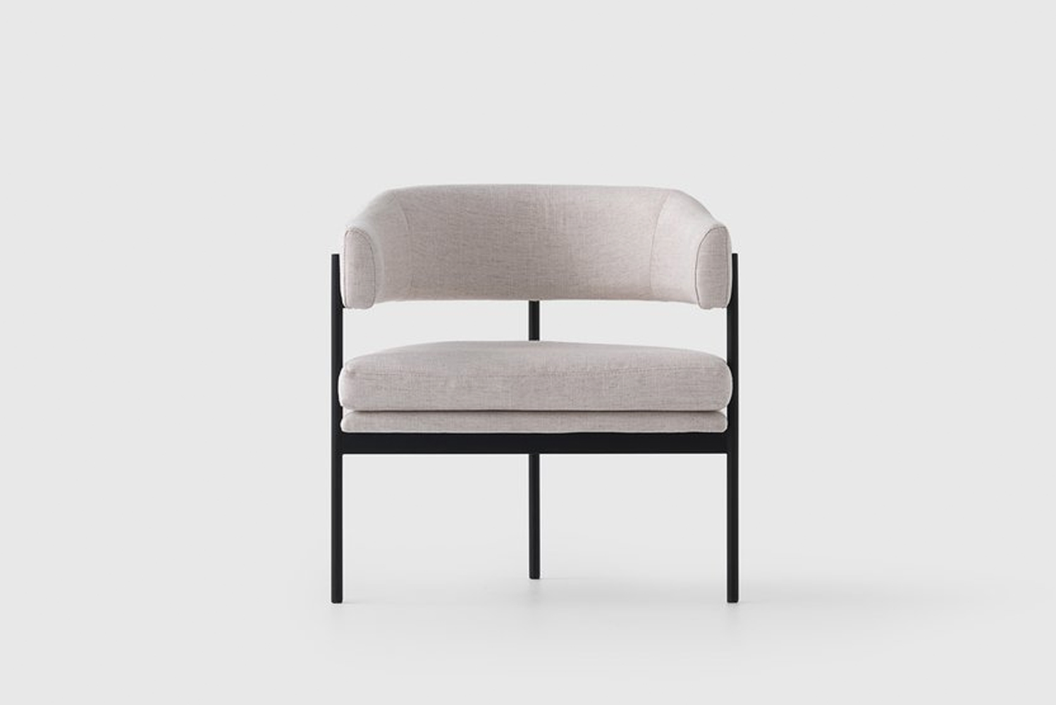 Its ultra slim three-legged steel base provides support and acts as a deliberate variant against a soft seat and tailored back cushion.