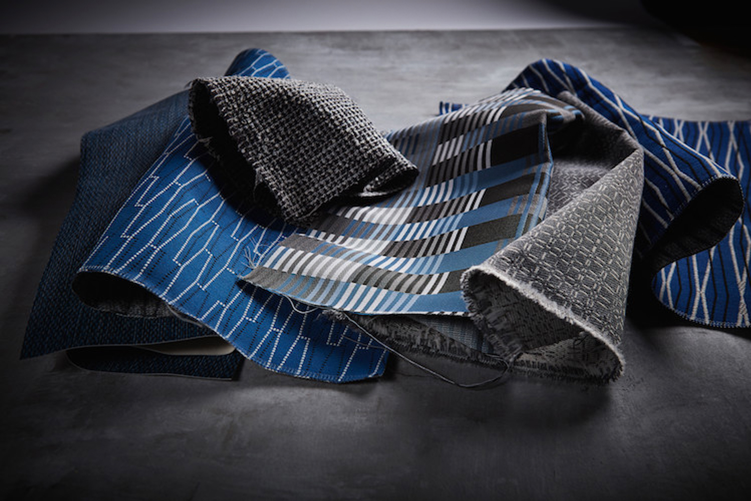The collection also includes Mix, a densely woven tweed; and Merge, a pattern that hints at algorithmic calculations.
