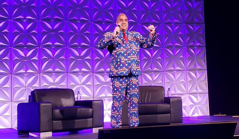 Robbi Jumaa Hamida is known for wearing wild suits, one for each session, on stage at the annual CoNexion conference.