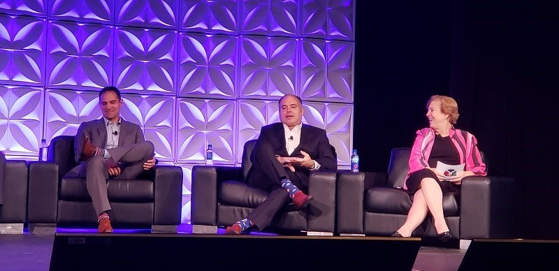 Jackie Friedman, Nexion's president, at right, moderated a panel discussion by Travel Leaders Group executives on Friday. L to R are Michael Heflin, Stephen MGillivray and Friedman.