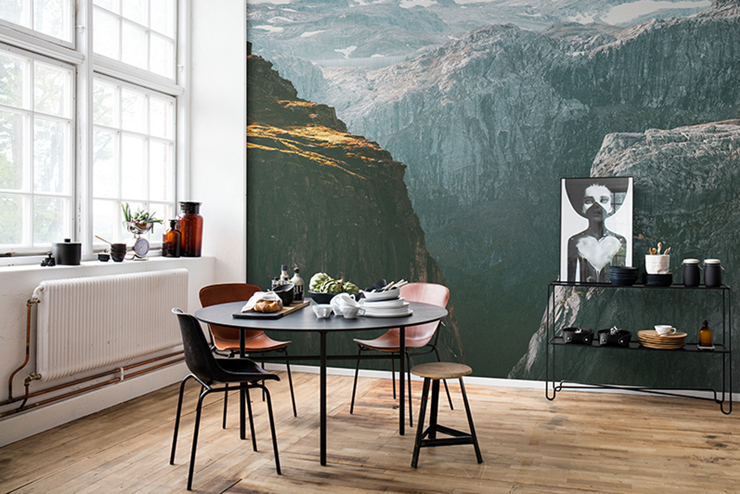Using Rebel Walls' new matte and smooth finish Rebel Mattic, among the featured images are the rough bark of a pine tree, the slippery mountain slopes and the soft green moss of an untouched forest.