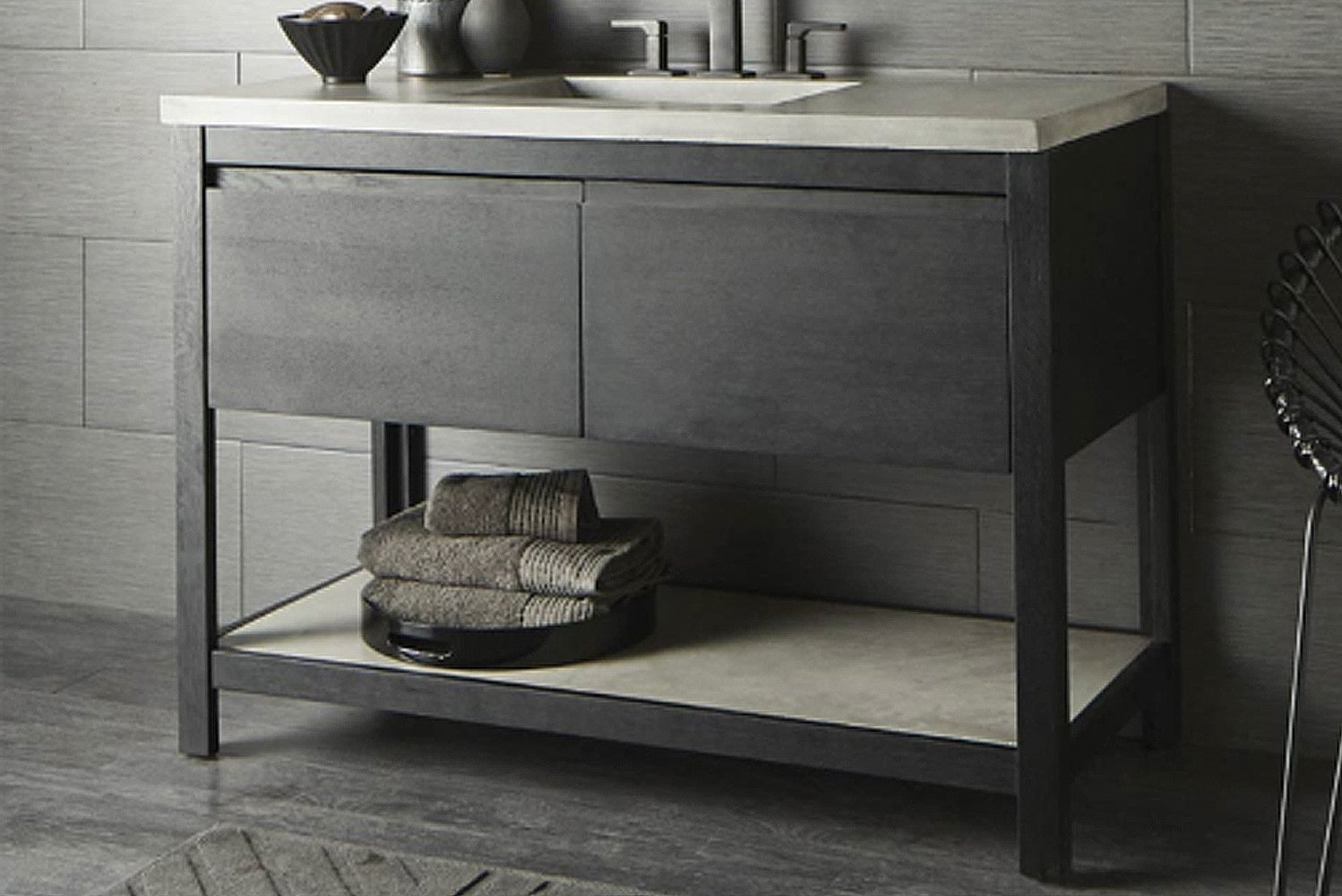 New to Native Trails' portfolio is an oak vanity series with coordinating mirrors.