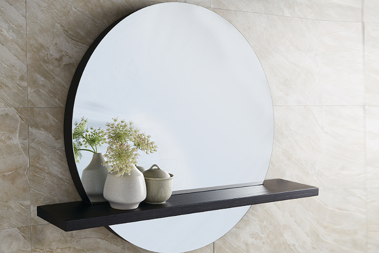 """The new transitional style circular Solace mirror has a thick 2"""" frame that makes for a captivating design statement."""