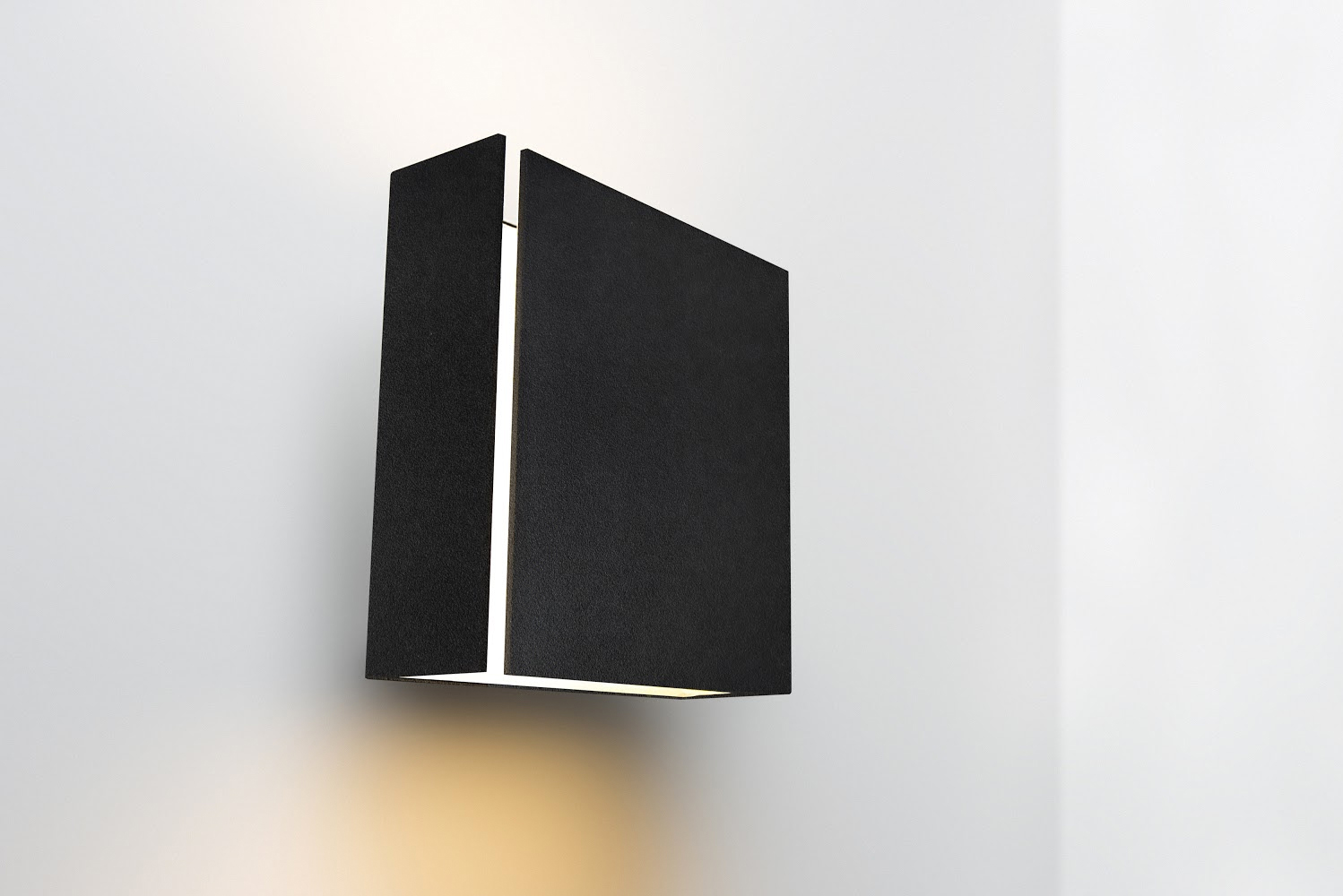 This luminaire is the result of improved folding techniques and is a wall-mounted up- and downlight that consists of a single folded plate with a single, fine split, from which light can radiate.