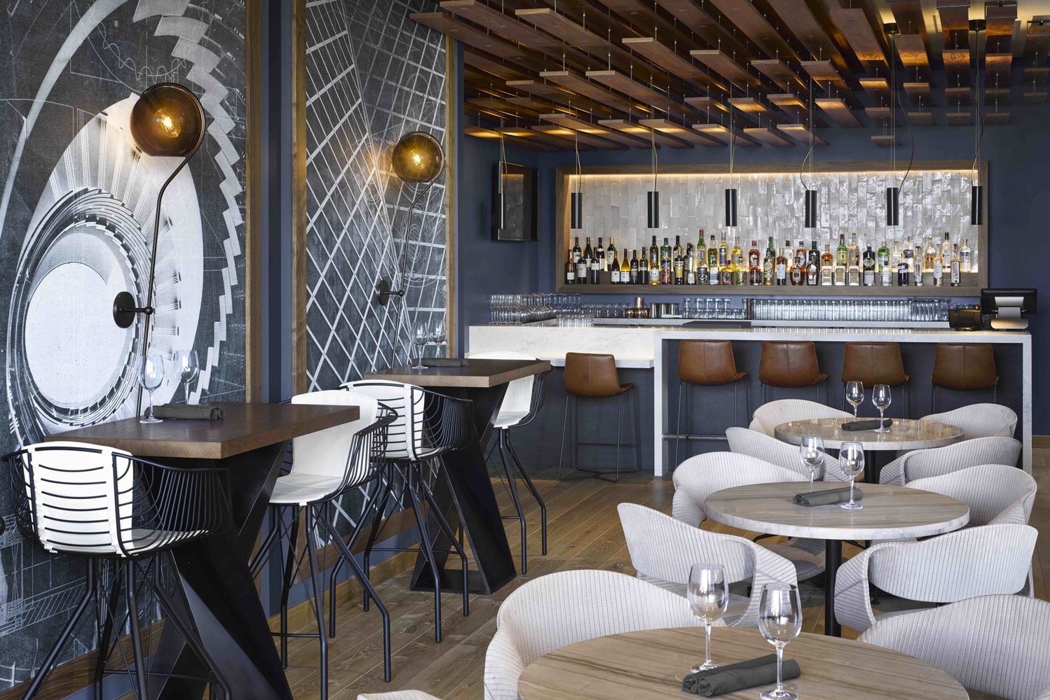 The 142-room boutique hotel occupies the first 10 floors of the 42-story Arrivé tower, a new-build, mixed-use property.