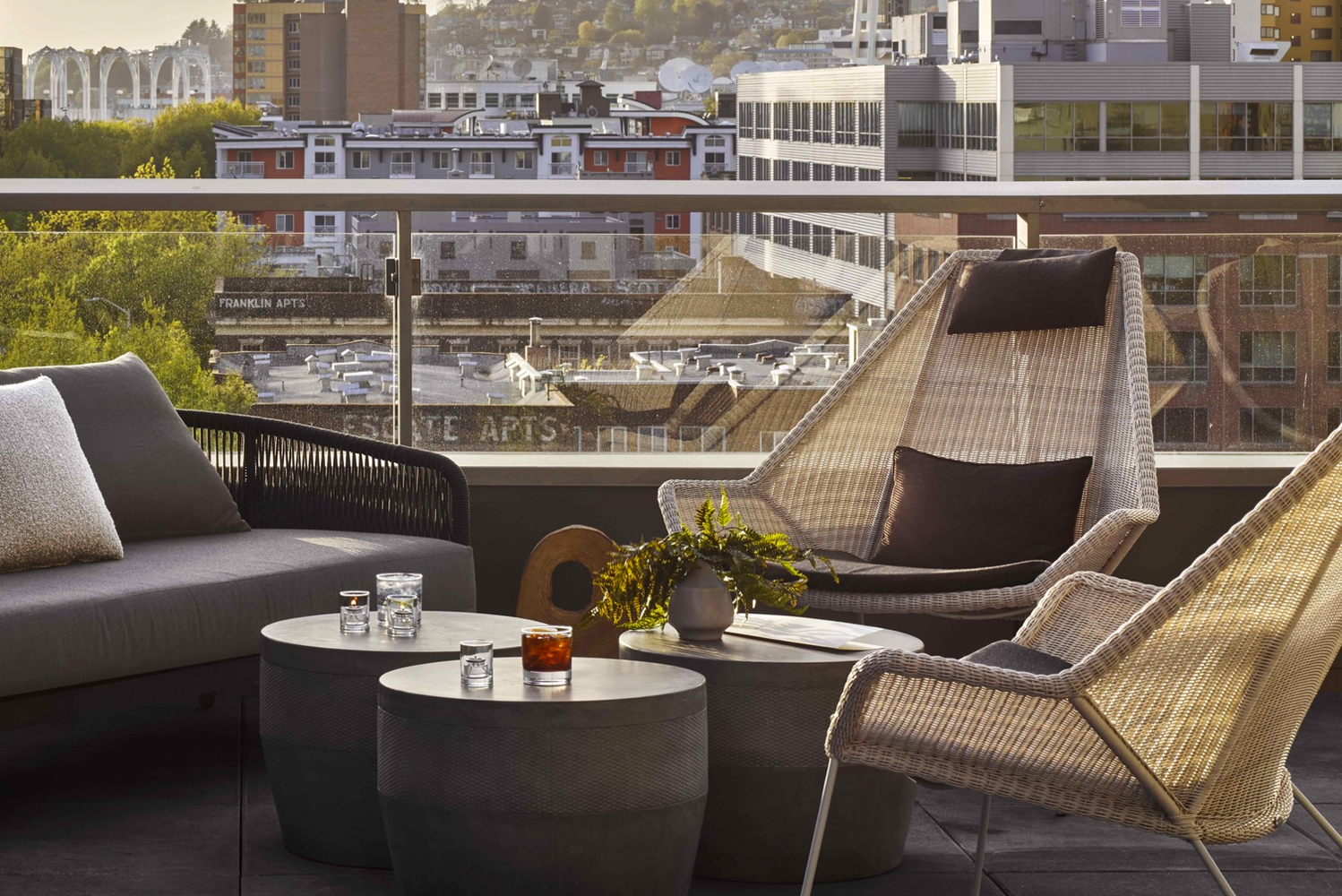 At the seventh floor, guests have views of the Space Needle and city skyline.