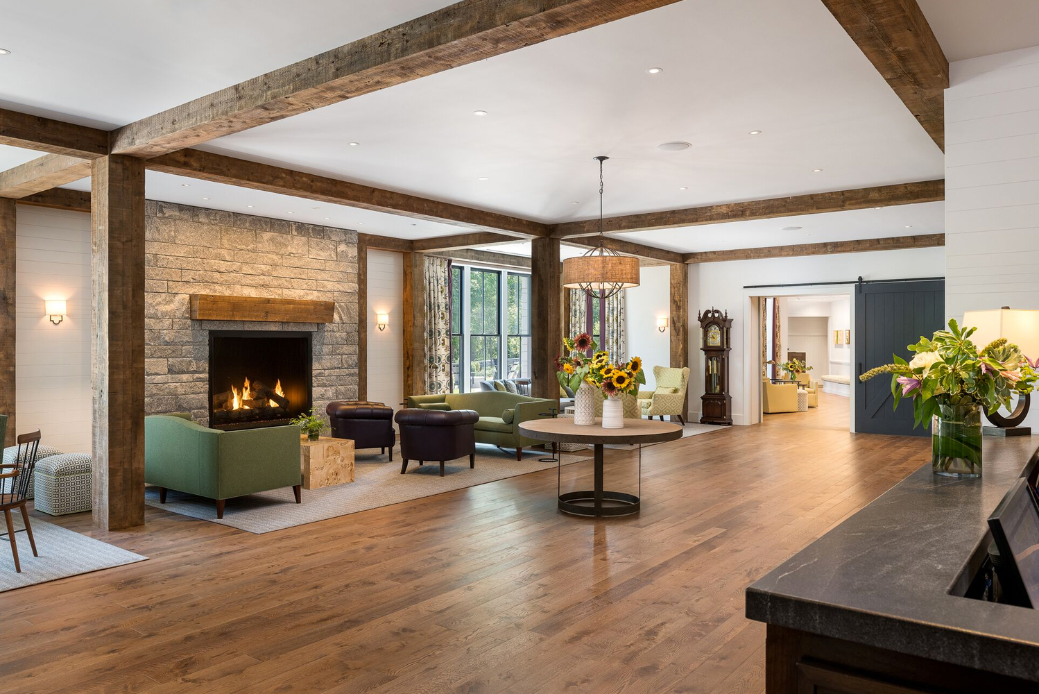 Inspired by the architectural vernacular of New England, the inn is positioned at the town center, and was designed to fit into the community.