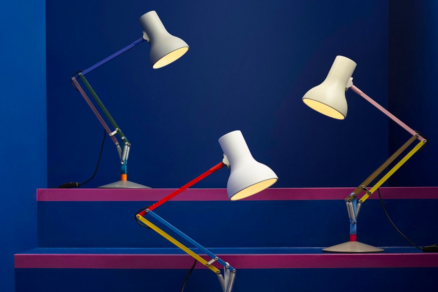 The Type 75 mini and Type 75 desk lamp are available in the three Paul Smith and Anglepoise Edition colors.