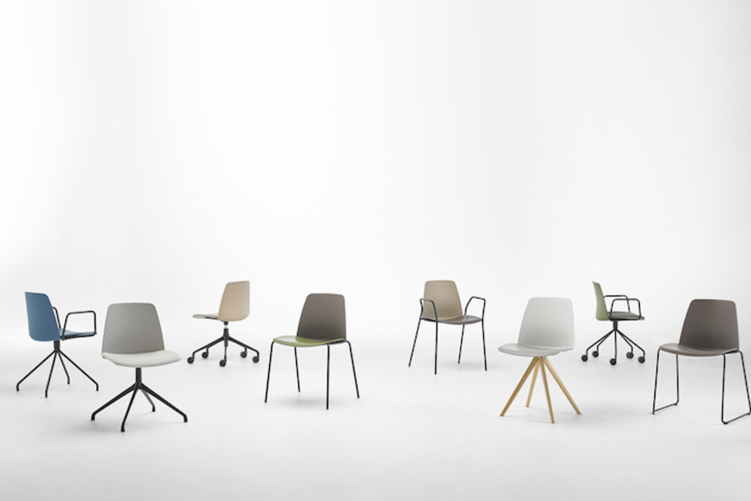 Unnia is also available with casters, as a barstool, and upholstered as a swivel armchair.