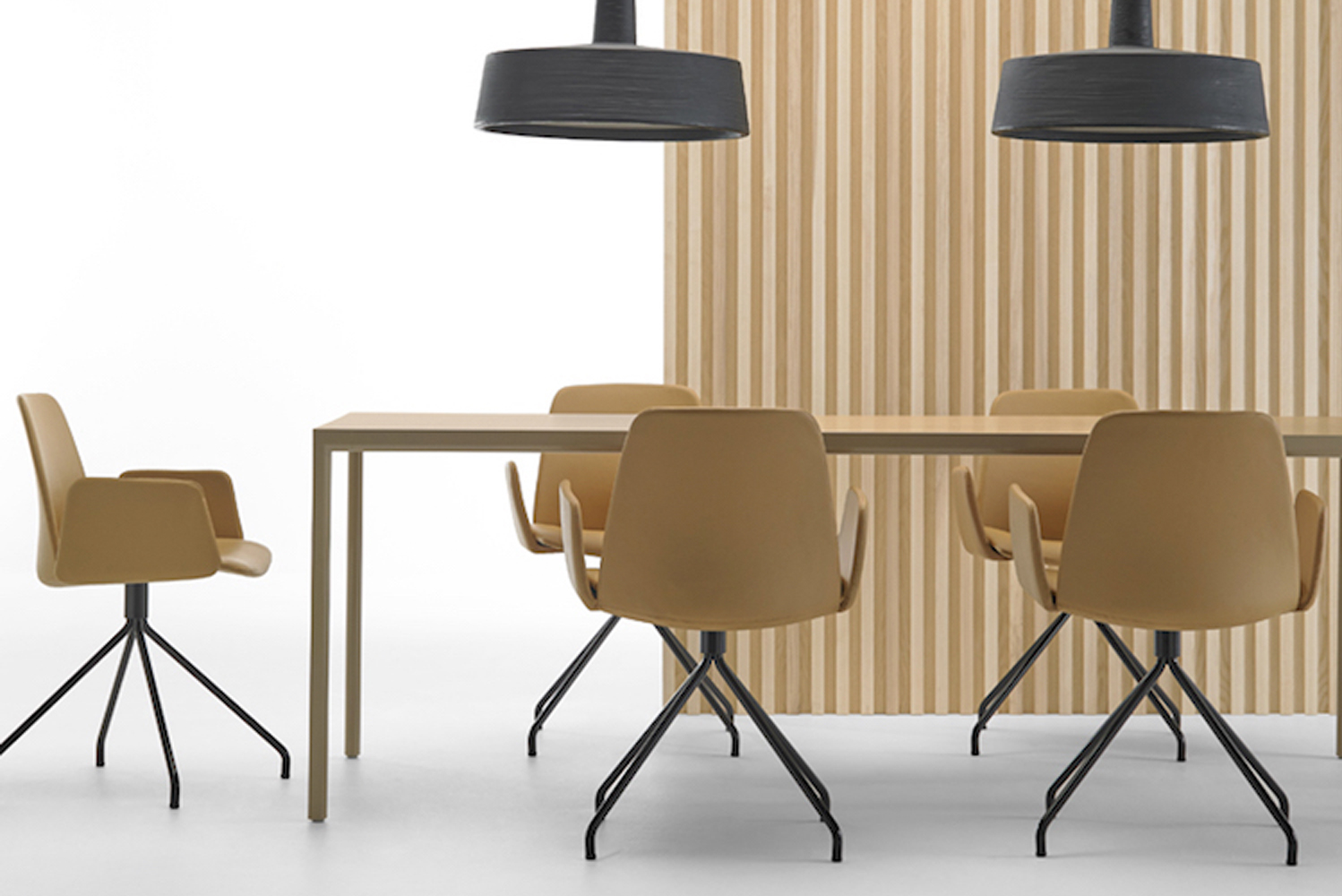 The chairs are a fun addition to any interior thanks to the number of color options available.