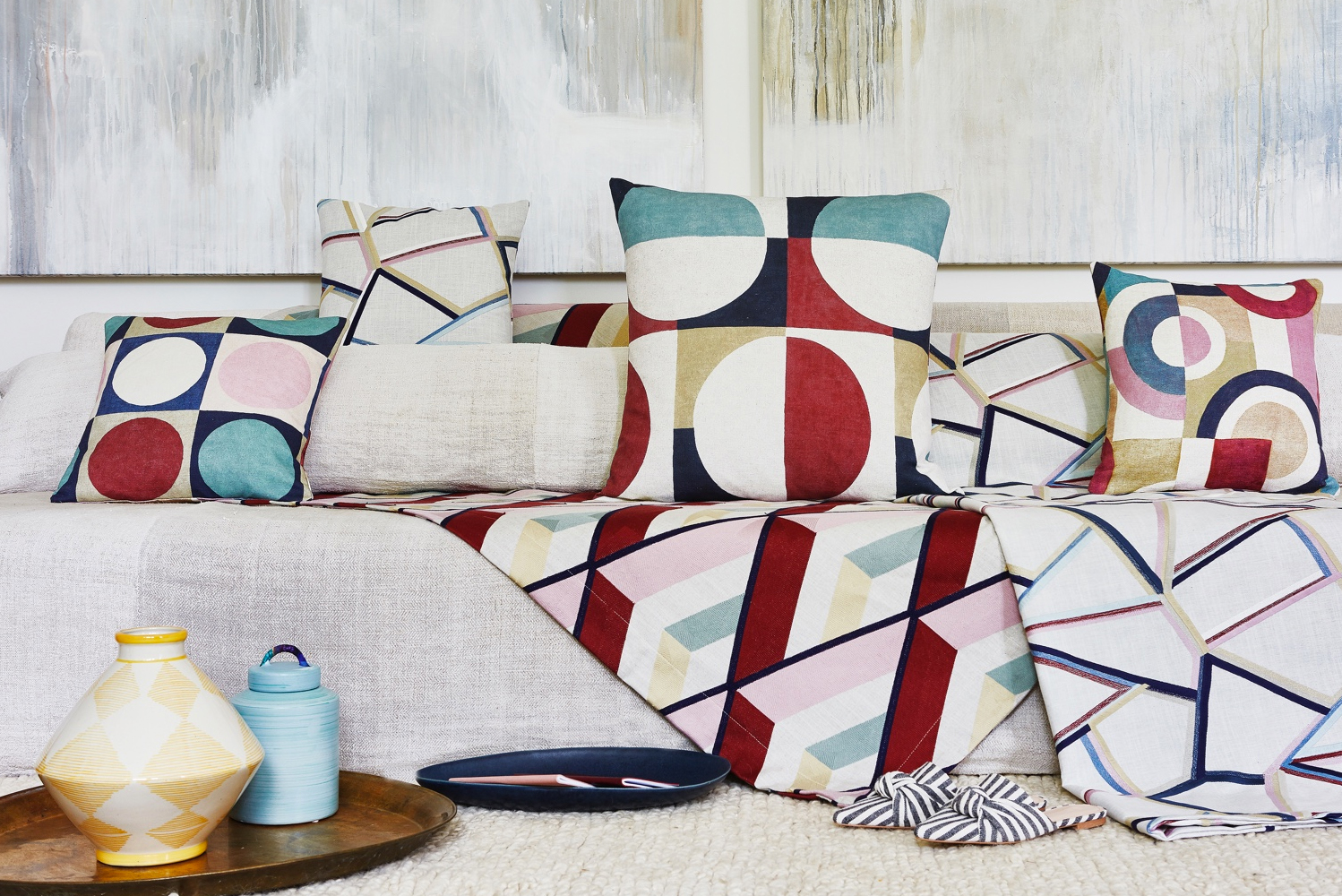 The Abstract collection reimagines Bauhaus prints that were popular during the 1970s to create seven complementary designs.