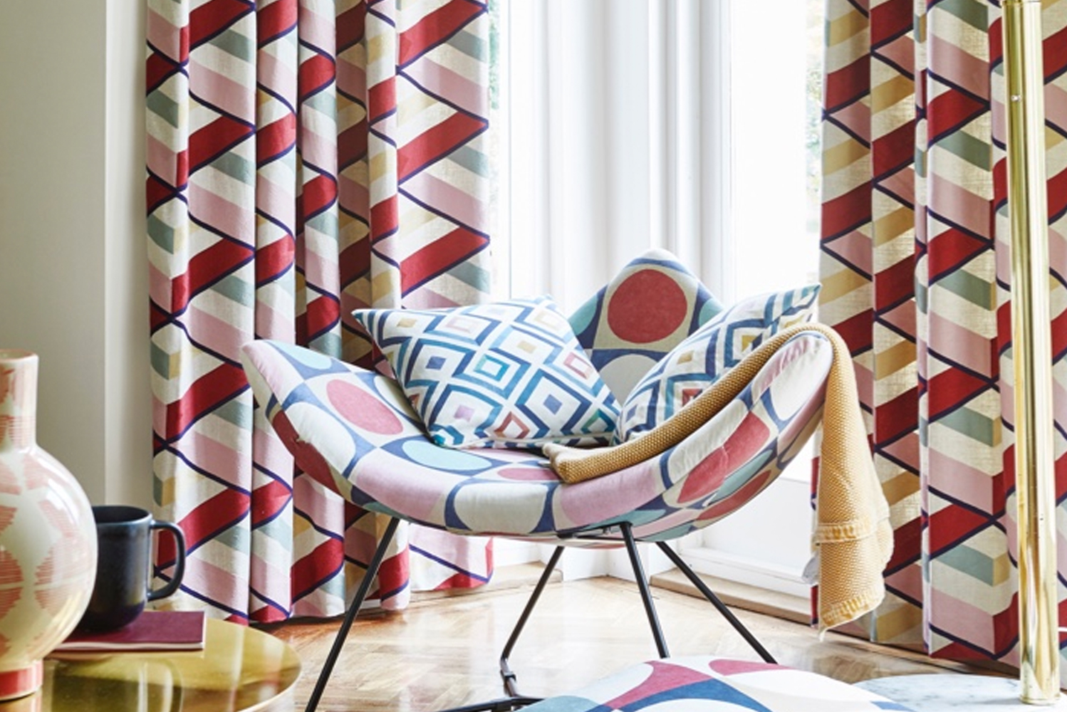 The collection recreates the Bauhaus movement's distinctive block-printed motifs in new tones.