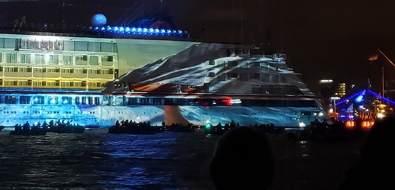 A marine life scene is projected onto the new Hanseatic Inspiration.