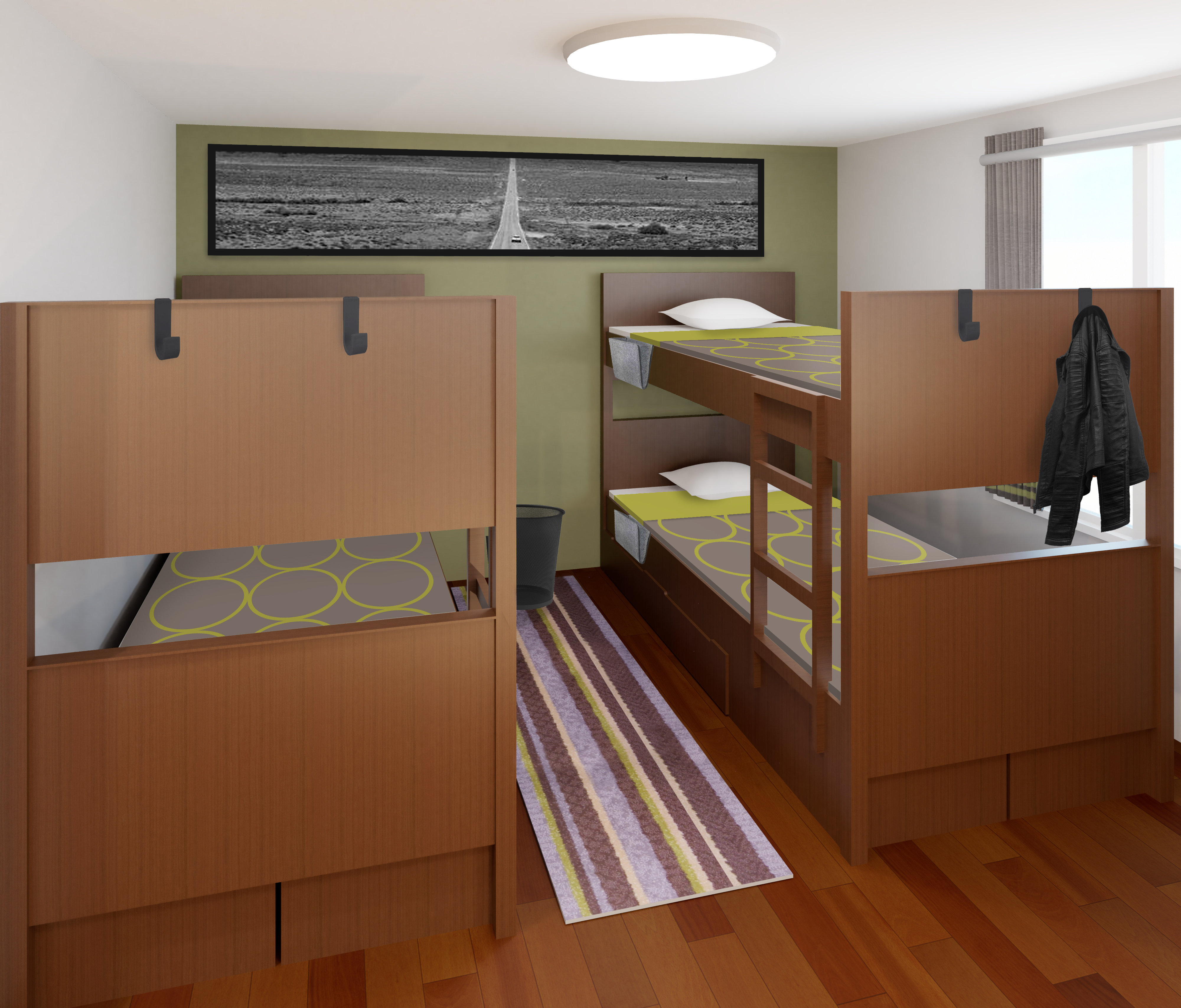 The bunk beds maximize space in the room.