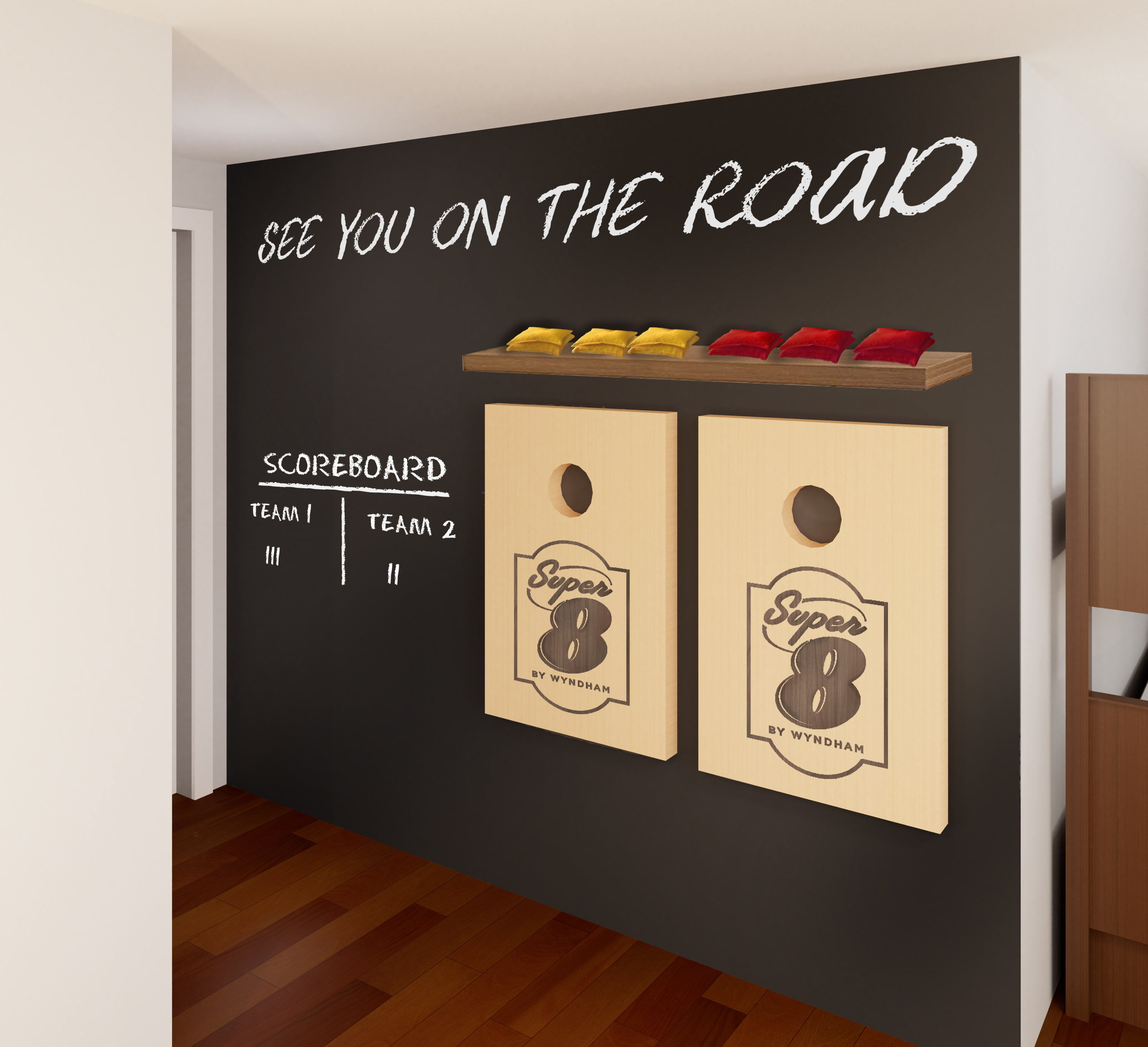 The rooms have a chalkboard entry wall for guests to write on.