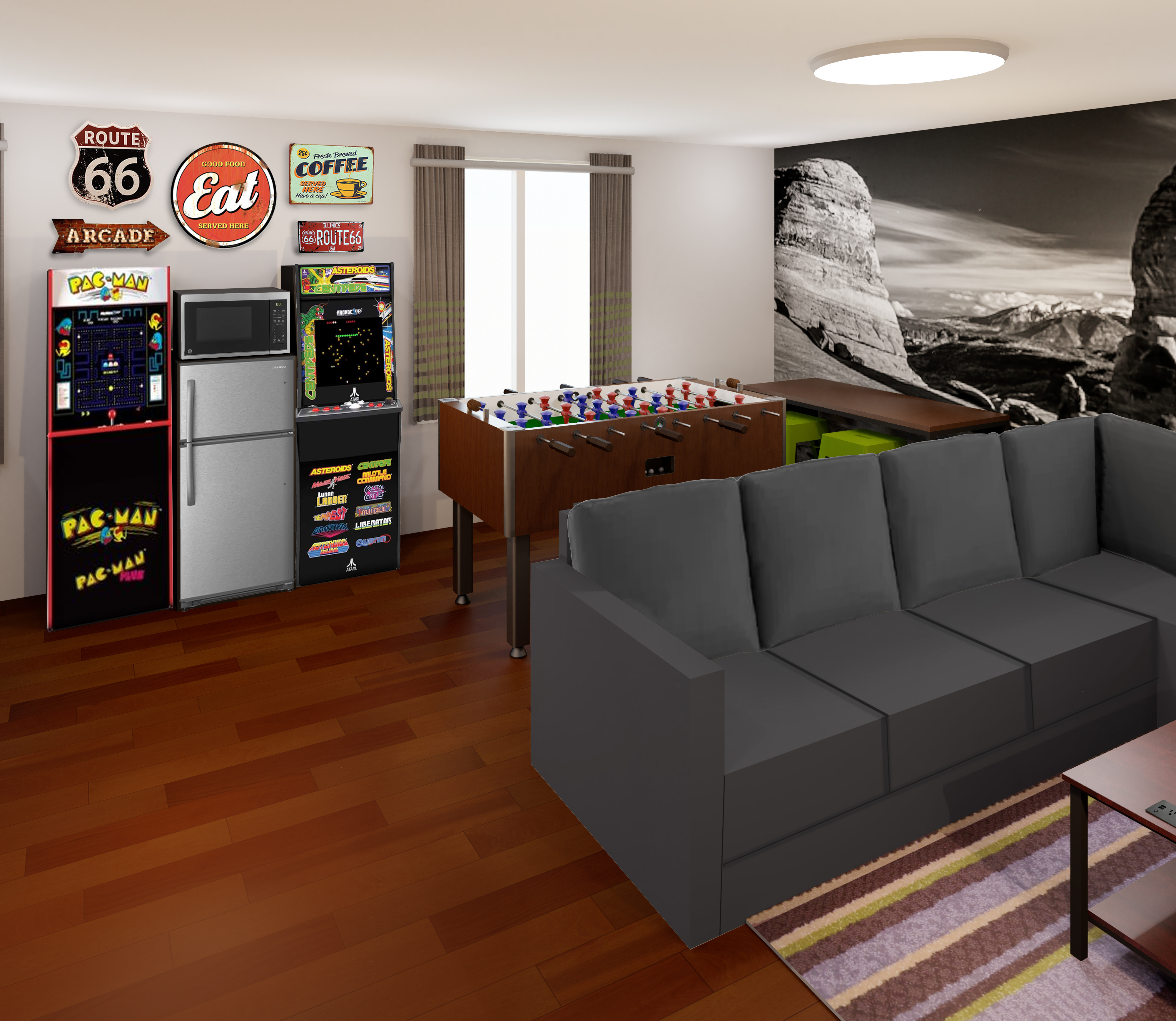 Guests can play retro video games and foosball.