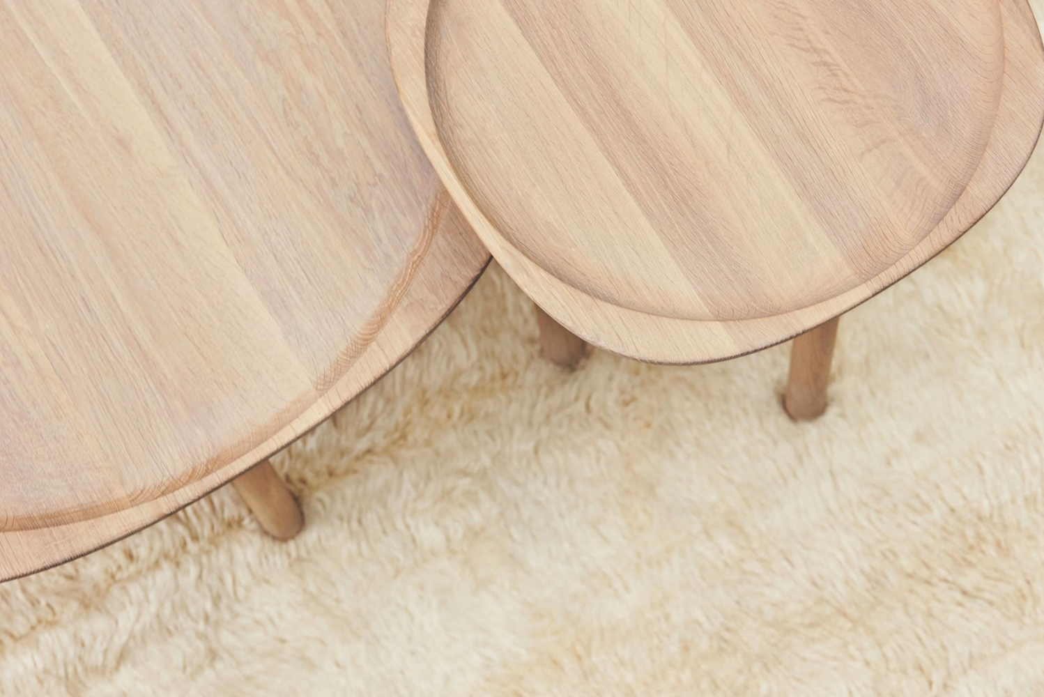 The coffee table is available in two sizes that can be paired together or separately.