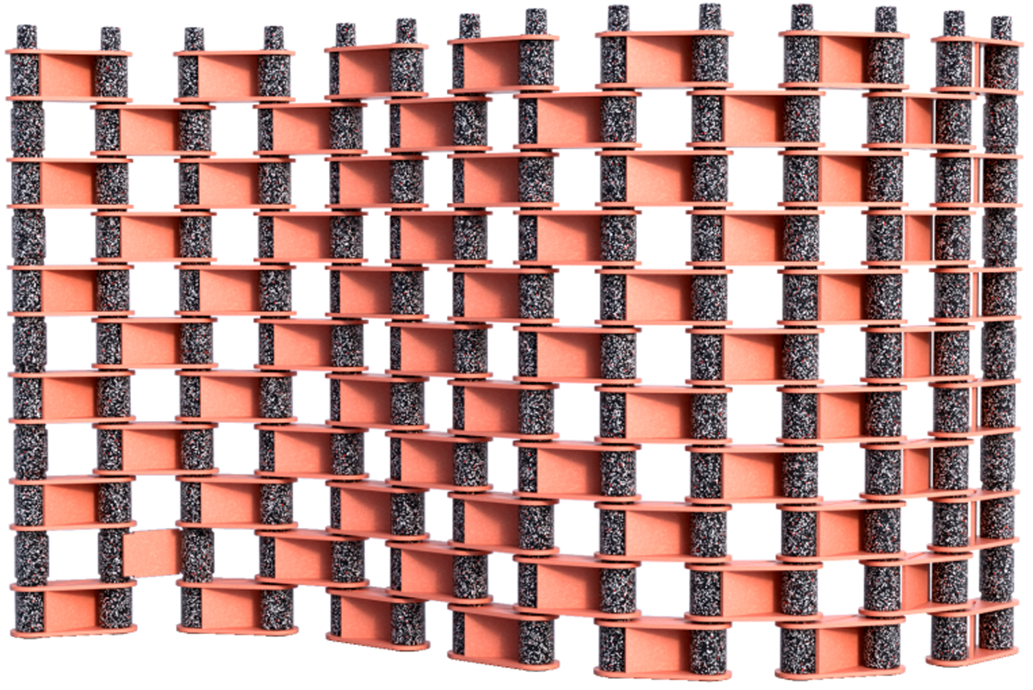 Recycled acoustic material links the multi-colored pins for an infinitely scalable and fully customizable modular system.
