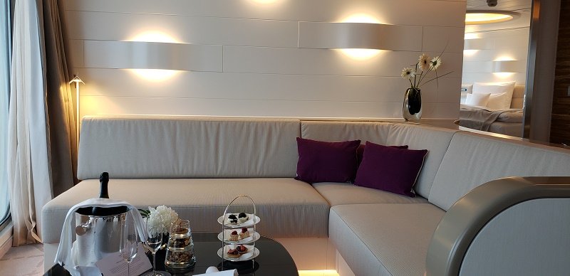 Simplistic style and lighting create a relaxing aura in the aft Grand Suite