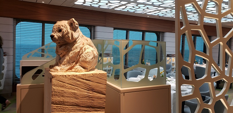Art across the ship reflects wildlife and eco-scenes, such as this sculpture in the Hanseatic Restaurant.