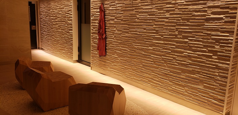 The soothing look of the Ocean Spa with all-natural wall materials.