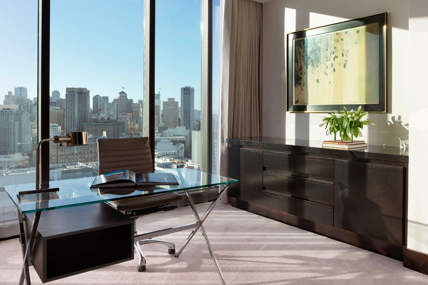 The redesign from Kiko Singh of BraytonHughes Design Studios accentuates the Presidential Suite's skyline views.