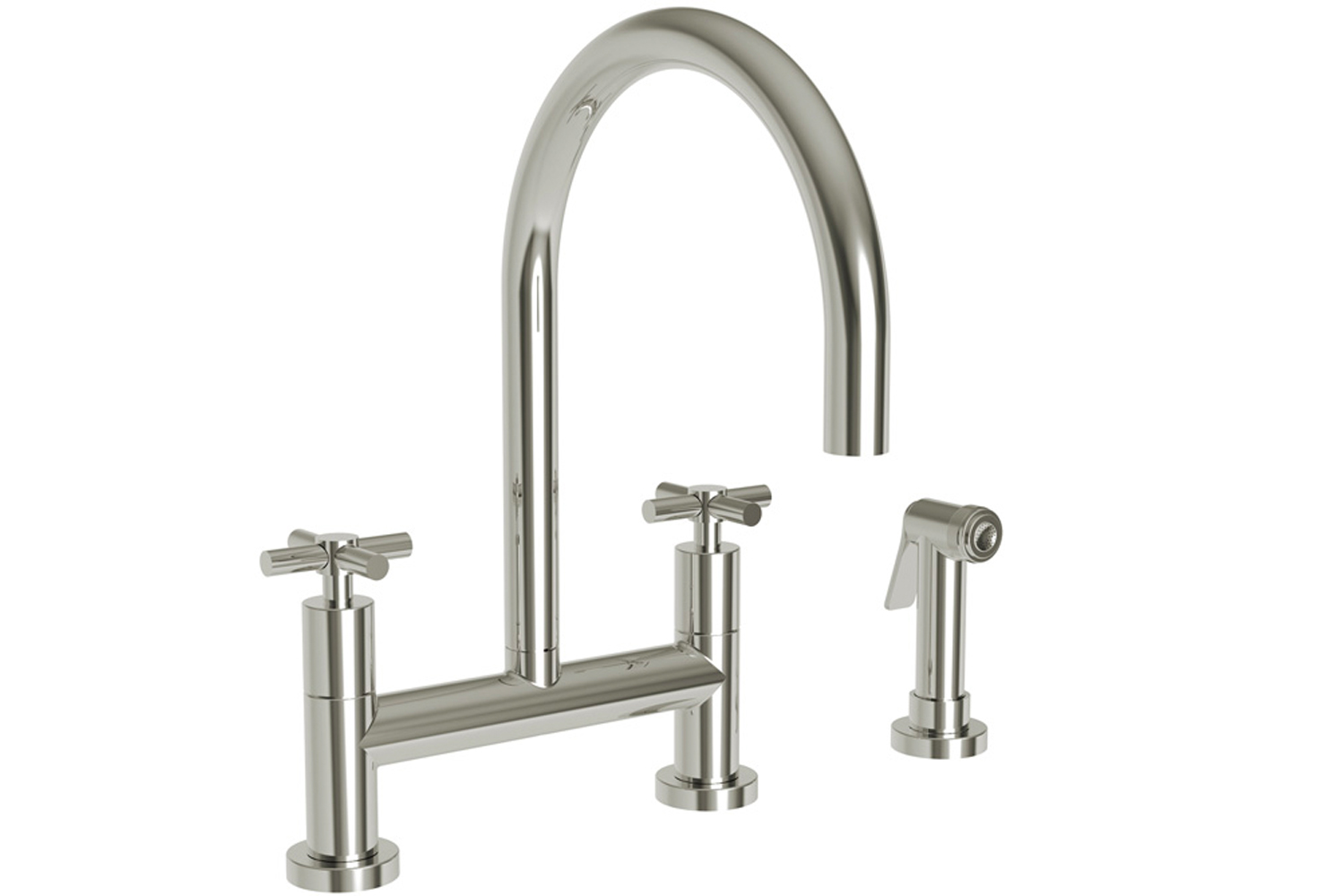 The new East Linear bridge faucet's streamlined features complement the spout's smooth contours and architectural design.