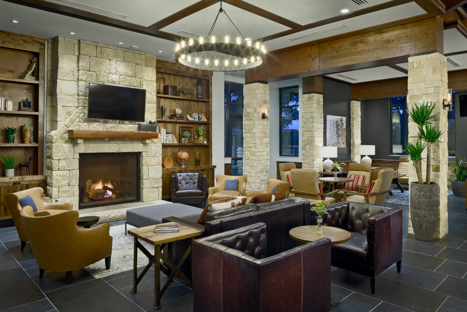 """The property is defined by its """"rustic meets contemporary"""" design, created by MatchLine Design Group and The Johnson Studio at Cooper Carry."""
