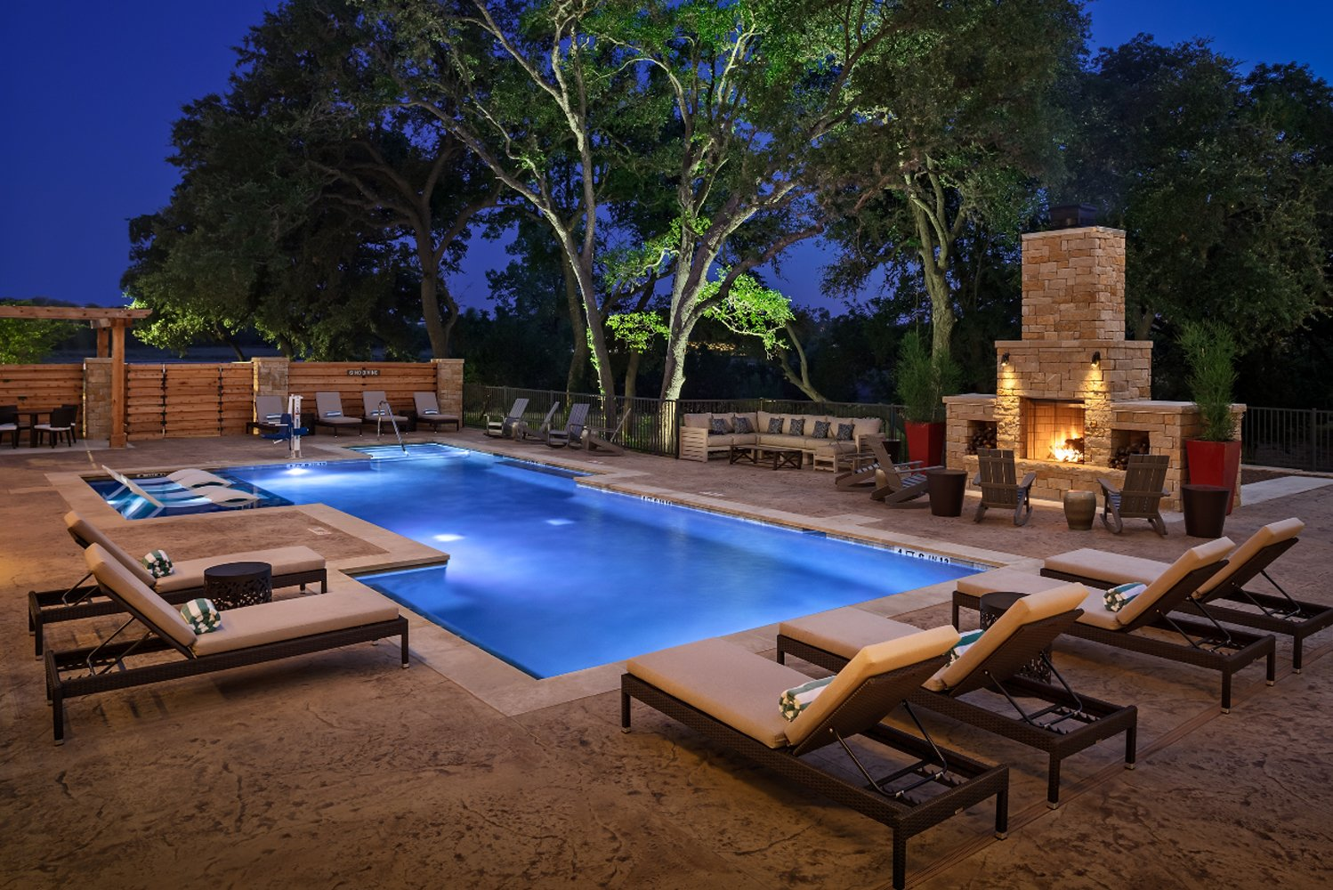 Amenities onsite include a pool and lounge.