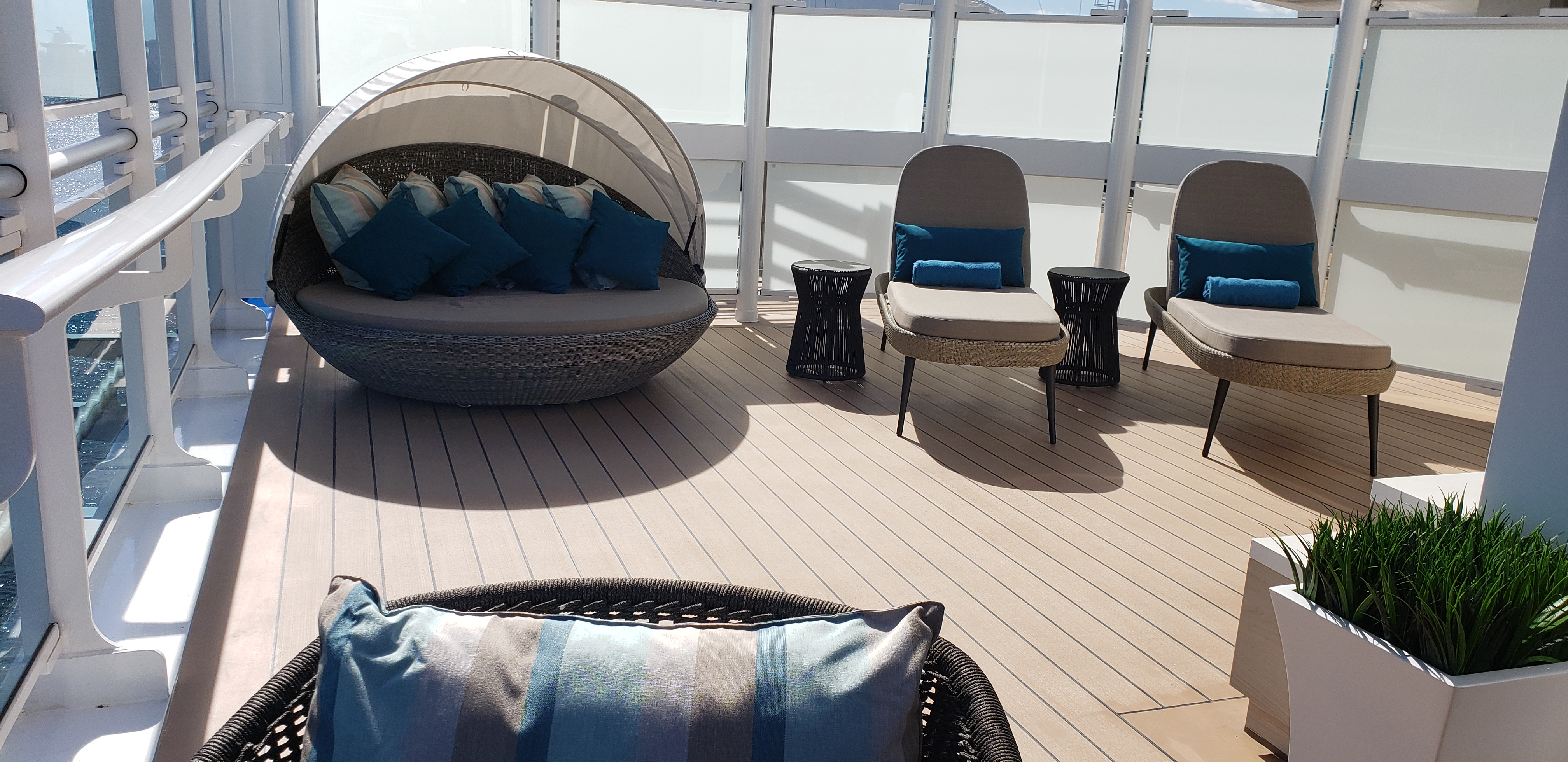 The sunning area on the Sky Suite's large balcony. Photo by Susan J. Young