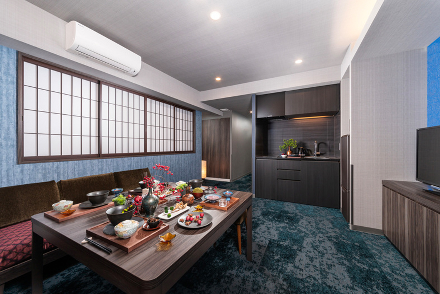 All guestrooms are equipped with a kitchen as well as dining space.