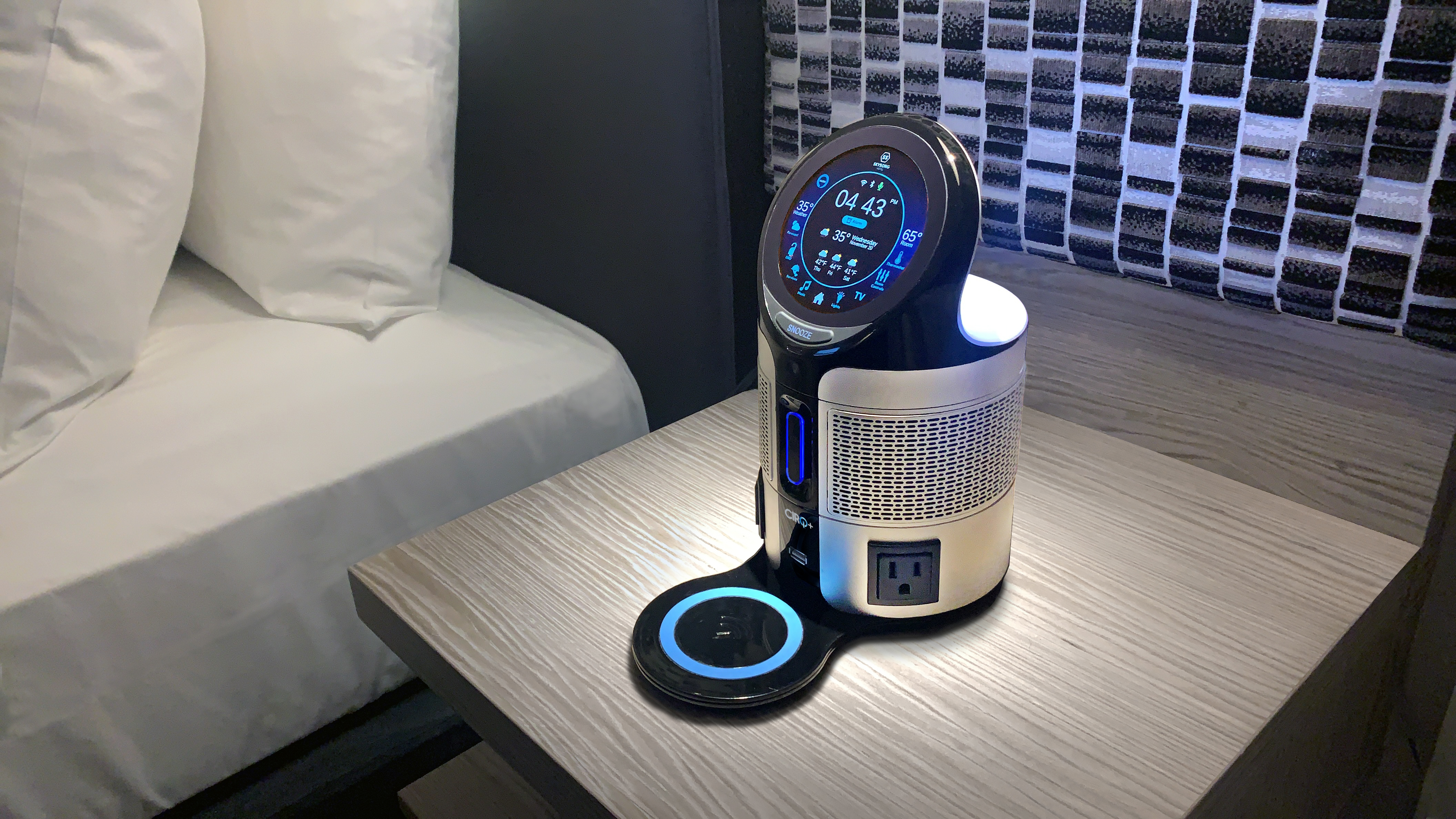 When guests enter their hotel rooms, they can speak commands to the Cirq+ supported voice assistant selected by the hotel (Amazon Alexa, Google Assistant or IBM Watson) to control room temperature, lighting and the TV.